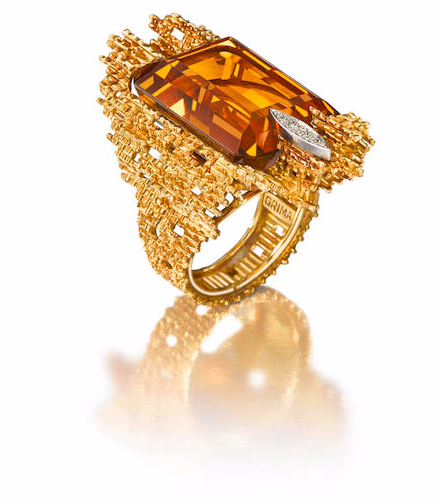 18 Carat Gold Citrine and Diamond Ring