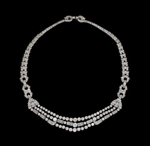 Art Deco diamond necklace by Cartier belonging to Deborah Duchess of Devonshire DCVO