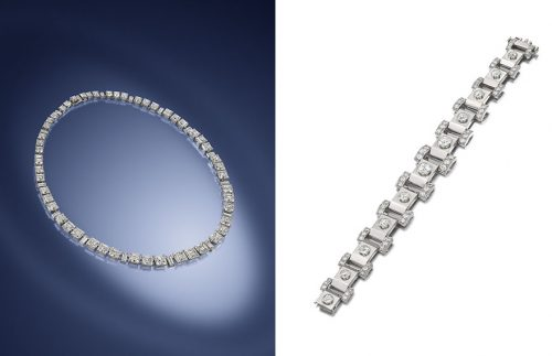 Art Deco Diamond Rivière by Cartier & An Art Deco Rare Raymond Templier bracelet