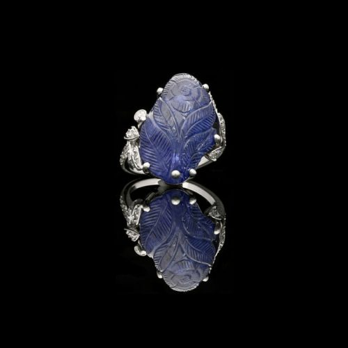 Cartier Carved Sapphire and Diamond Ring