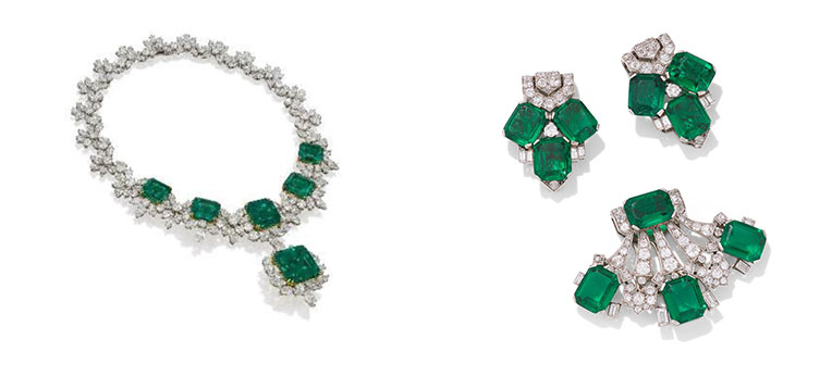 Emerald and Diamond Necklace, Bracelet, Earring and Ring Suite by Chatila