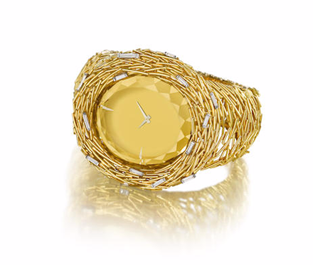 Gold Citrine and Diamond Watch
