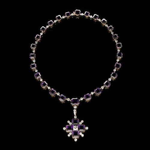 A Victorian amethyst and diamond necklace – £35,000