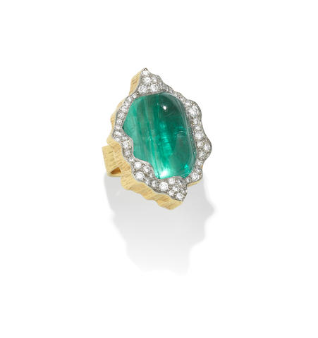 Emerald and Diamond Ring by Andrew Grima