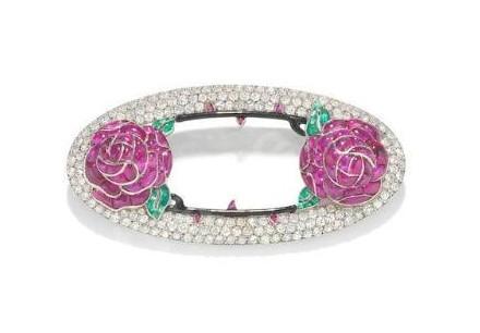 A Ruby, Emerald, Enamel and Diamond Rose Brooch