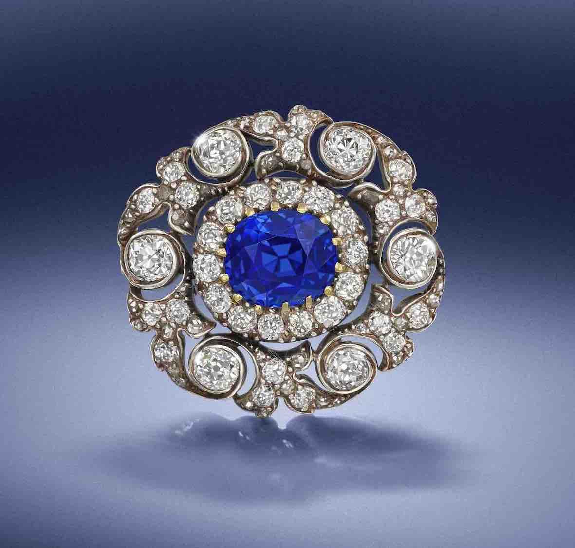 Late 19th Century Sapphire and Diamond Brooch