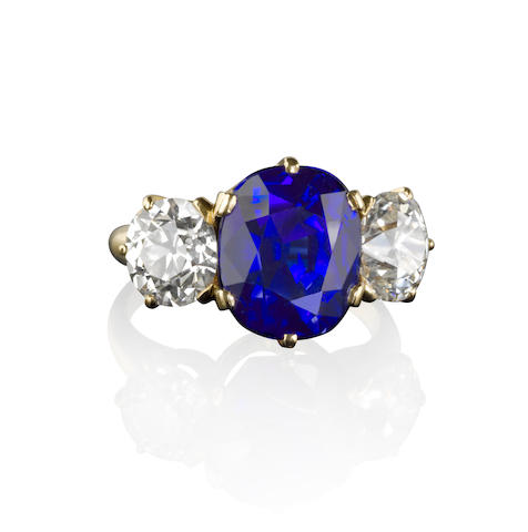 A Sapphire and Diamond Ring by Asprey