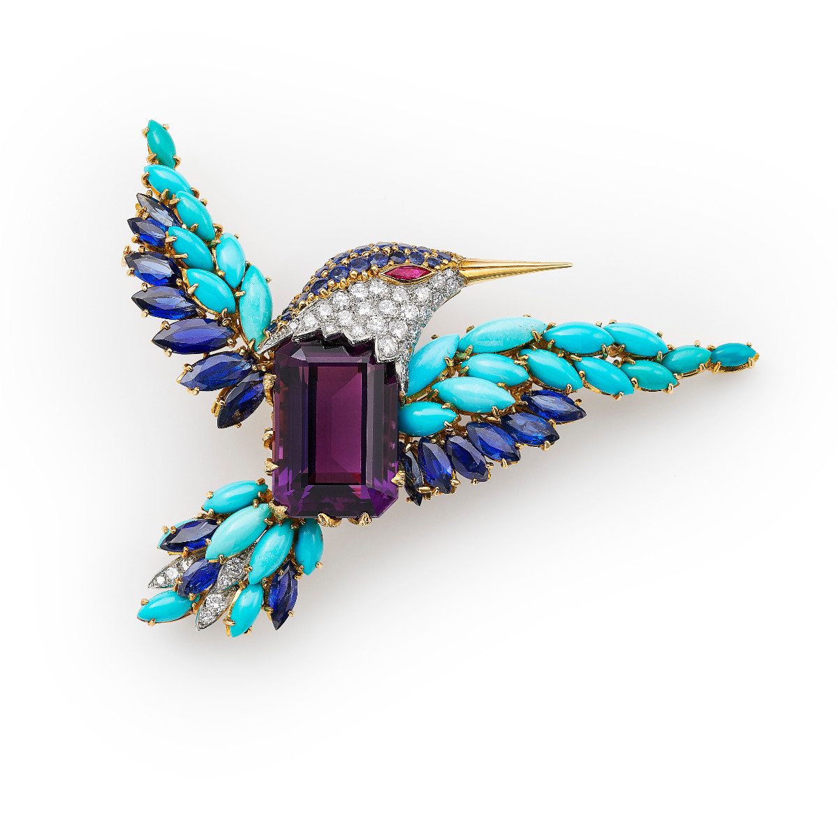 Amethyst and Turquoise Bird Brooch