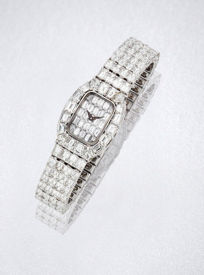 A diamond wristwatch by David Morris