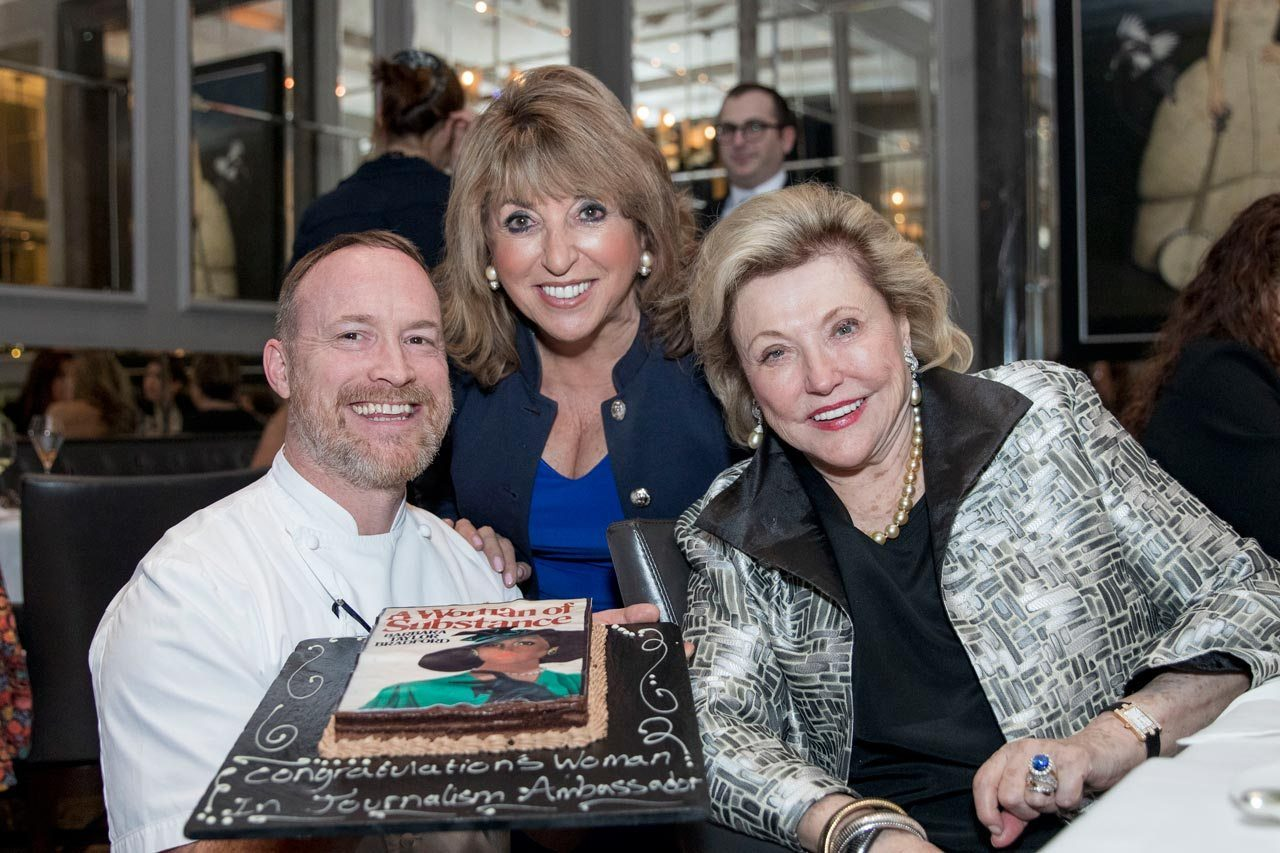 Barbara with Eve Pollard pictured at Corinthia London with Executive Chef André Garrett MCA. The hotel created a spectacular cake with the original A Woman of Substance cover on it.
