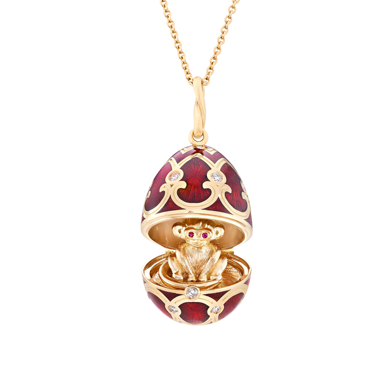 Fabergé Palais Tsarskoye Selo Red Monkey Surprise Locket