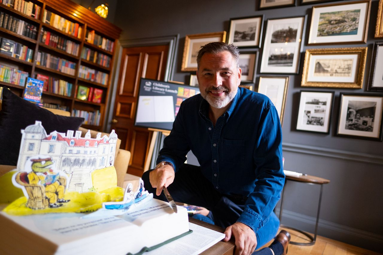 David Walliams at Fowey Hall Hotel Library