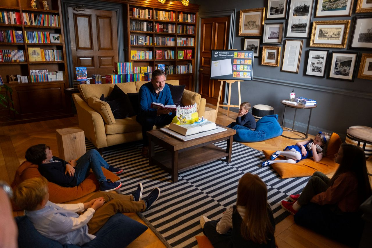 David Walliams at Fowey Hall Hotel Library